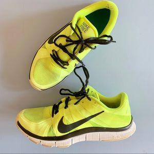 Nike Free 5.0 Running Shoes Size 10 Neon Yellow